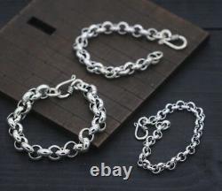 Pure 925 Sterling Silver Bracelet Classic Rolo Link Bracelet 7.87inch For Men's