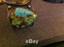 Rare Green Spiderweb Old Pawn Huge 3 Turquoises& Sterling Silver Cuff Bracelet