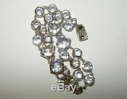 Rare, Victorian, French, Napoleonic, Sterling Silver Rock Crystal Bracelet