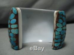Rare! Vintage Santo Domingo Kewa Inlay Turquoise Sterling Silver Bracelet Cuff