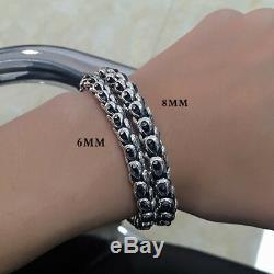 Real 925 Sterling Silver Bracelet Link Chain Dragon Scale Thick Mens 7.5 8.7
