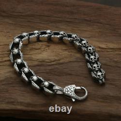 Real 925 Sterling Silver Bracelet Link Chain Skull Heavy Men's Length 7.9