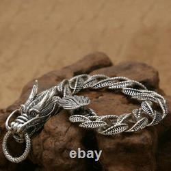 Real 925 Sterling Silver Bracelet Link Dragon Loop Chain