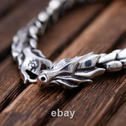 Real 925 Sterling Silver Bracelet Link Dragon Scales Bones Chain