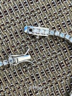 Real Silver 2mm Tennis Bracelet MOISSANITE Pass Diamond Tester Mens Ladies Iced