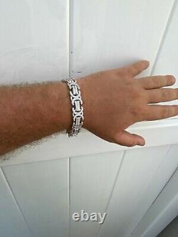 Real Solid 925 Silver Mens Custom Byzantine Bracelet 14mm Iced Heavy Hip Hop