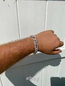 Real Solid 925 Silver Mens Custom Figaro Bracelet 14mm Iced Diamond Heavy HipHop