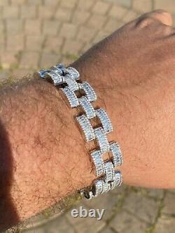 Real Solid 925 Silver Mens Custom Hip Hop Presidential Link Bracelet 14mm Iced