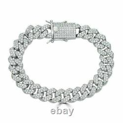 Real Solid 925 Silver Mens Miami Cuban Link Bracelet ICY Diamonds 12mm Hip Hop