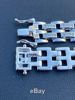 Real Solid 925 Sterling Silver Iced Hip Hop Mens Presidential Link Bracelet 12mm