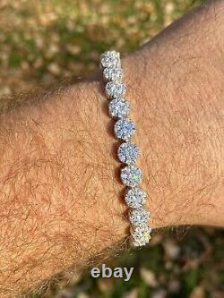 Real Solid 925 Sterling Silver Mens Iced Flooded Out Cluster Tennis Bracelet 7mm