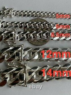 Real Solid 925 Sterling Silver Miami Cuban Chain Or Bracelet 5-14mm Box Clasp