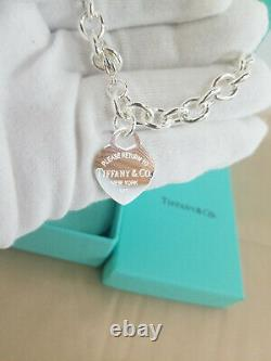 Return to Tiffany & Co. Heart Tag Charm Bracelet 925 Sterling Silver