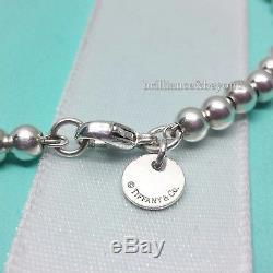 Return to Tiffany & Co Mini Heart Tag Bead Bracelet Sterling Silver Enamel Blue