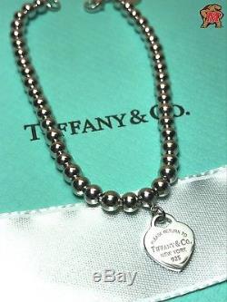 Return to Tiffany Sterling Silver Bead Bracelet Blue Enamel 6.5 Inch
