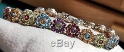 Ross Simons Sterling silver daisy Flower Garnet-Amethyst-Topaz-tennis bracelet