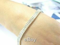 Round Cut Diamond Two Row SOLID 14k Yellow Gold Over Men's Tennis Bracelet 8