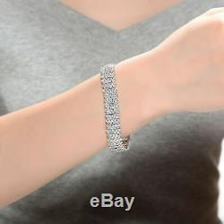 Rozzato Sterling Silver Clear Round Cubic Zirconia Linear Pave Bracelet