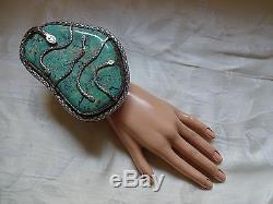 SALE Museum 517g NAVAJO Stamped Sterling Silver TURQUOISE Cuff BRACELET Snakes
