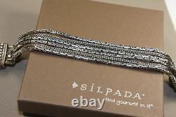 SILPADA Sterling Silver Go Gorgeous 6-Strand Box Clasp Bracelet B1452 STYLISH