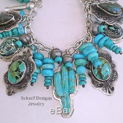 Schaef Designs Turquoise Cactus Squash Blossom Sterling Charm Bracelet Necklace