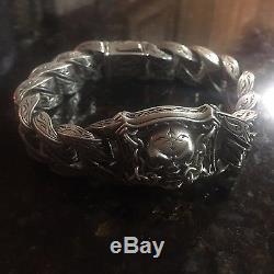 Scott Kay Unkaged Heavy 162.7 Grams 9.25 Sterling Silver & Gold Skull Bracelet