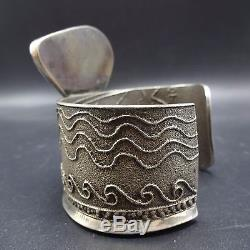 Signed Vintage ANTHONY LOVATO Tufa Cast Sterling Silver TURQUOISE Cuff BRACELET