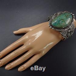 Signed Vintage NAVAJO Hand-Stamped Sterling Silver & TURQUOISE Cuff BRACELET