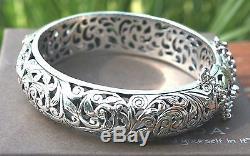 SilpadaForever Stunning Sterling Silver Filigree Hinged Bangle BraceletB1829