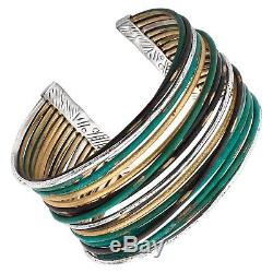 Silpada'Fresco' Sterling Silver and Patina Brass Cuff Bracelet, 7.5