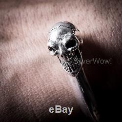 Skull Cuff Bangle for Men Highest Quality Solid 925 Sterling Silver