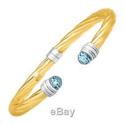 Sky Blue Topaz Cuff Bracelet in Sterling Silver & 14K Yellow Gold