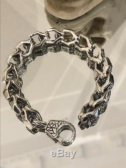 Solid 925 Sterling Silver Mens Heavy Skull Chain Cuff Bracelet 21cm UK STOCK