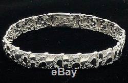 Solid 925 Sterling Silver Nugget Style Adjustable Bracelet 8,9.3 mm 21.2 Grams