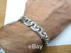 Solid Sterling Silver. 925 Patterned Link Men's Bracelet 43 grams -Heavy