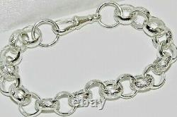 Solid Sterling Silver Men's Belcher Bracelet pattern & plain link 8.75 inch