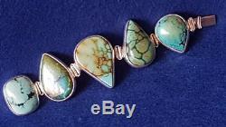 Spectacular Australian Artisan Modernist Sterling Silver & Turquoise Bracelet