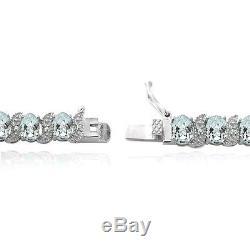Sterling Silver 11.25 Aquamarine & Diamond Accent Tennis Bracelet