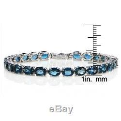 Sterling Silver 20ct TGW London Blue Topaz Oval Tennis Bracelet
