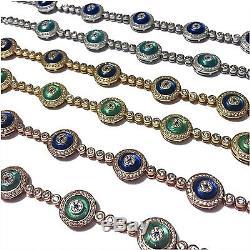 Sterling Silver Glass Evil Eye Tennis Bracelet (BGE)
