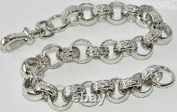 Sterling Silver MEN'S Belcher Bracelet Stone Set 8.5 inch