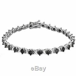 Sterling Silver Round Black Diamond'X' Style Tennis Bracelet 14k White Gold FN