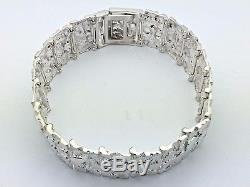 Sterling Silver Solid Nugget Bracelet Adjustable 8.25 21mm 51.5 grams