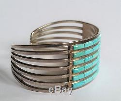 Sterling Silver TURQUOISE Cuff ZUNI INLAY BRACELET ANSON & LETITIA WALLACE ALW