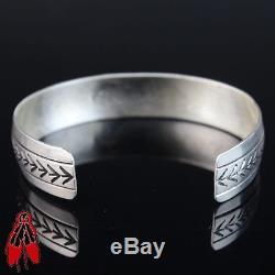 Sterling silver. 925 vintage style stamp bracelet Raymondo Joe Navajo mens Cuff