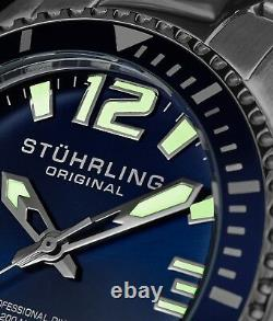 Stuhrling Regatta Mens Swiss Quartz Stainless Steel Link 20 M Sport Dive Watch