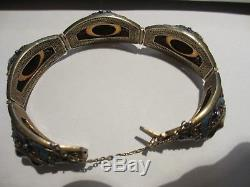 Stunning Antique Chinese Export Sterling Silver Enamel Tiger Eye Link Bracelet-n