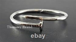 Stunning Women's Nail Bangle Cuff Solid Sterling Silver 925 Statement Bracelet