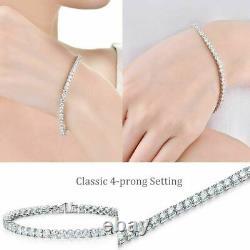 Tennis Ladies Bracelet 14k White Gold Over 4mm 6 Ct Round Cut Diamond 7.50