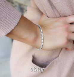 Tennis Round Diamond Bracelet 7.25 925 Sterling Silver In 14K White Gold Over